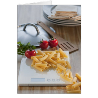 Raw pasta on weight scale card