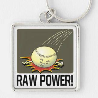 Raw Power Silver-Colored Square Key Ring