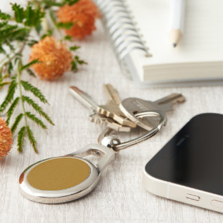 Raw Sienna colored Silver-Colored Oval Metal Keychain