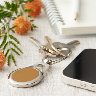 Raw Umber color Silver-Colored Oval Metal Keychain