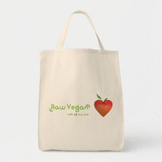 Raw vegan with all my love (red apple heart) grocery tote bag