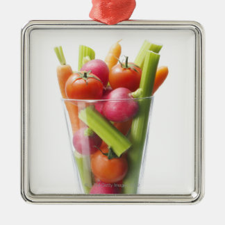 Raw vegetable shake Silver-Colored square decoration