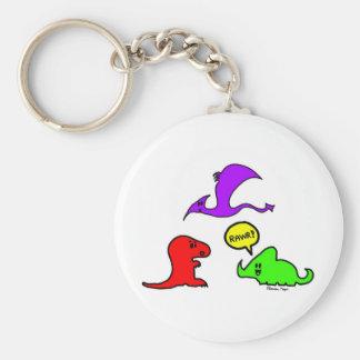 Rawr! Cute Dinosaurs Chibi Babies Dinos Basic Round Button Key Ring