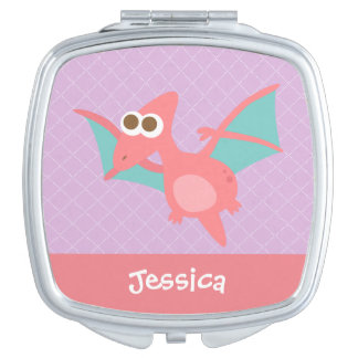 Rawr, Cute Pink Pterodactyl dinosaur For Kids Makeup Mirrors