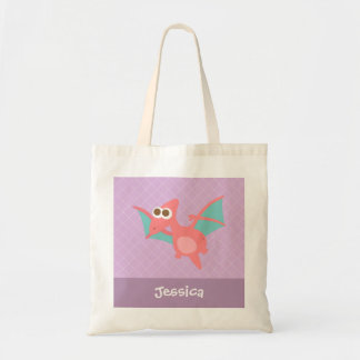 Rawr, Cute Pink Pterodactyl dinosaur For Kids Budget Tote Bag