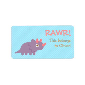 Rawr, Cute Purple Triceratops dinosaur For Kids Label