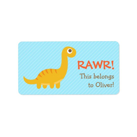 Rawr, Cute Yellow Brachiosaurus dinosaur For Kids Address Label