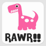 Rawr Dino Pink Square Sticker