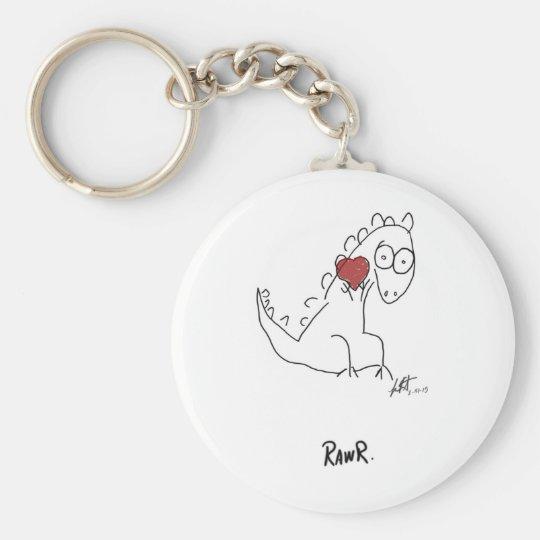 Rawr dinosaur ! basic round button key ring