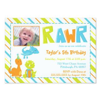 RAWR Dinosaur Birthday Party Photo Invitation