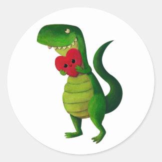 RAWR Dinosaur Love Classic Round Sticker