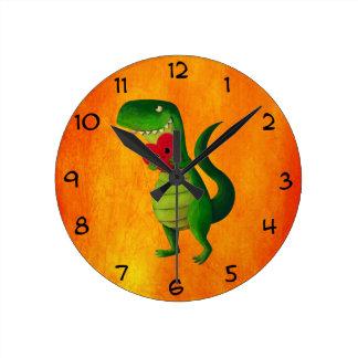 RAWR Dinosaur Love Round Clock