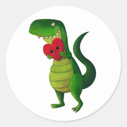 RAWR Dinosaur Love Round Stickers
