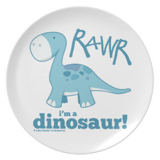 RAWR I'm A Dinosaur Diplodocus Plate