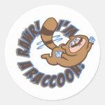 Rawr! I'm a Racoon! Round Sticker