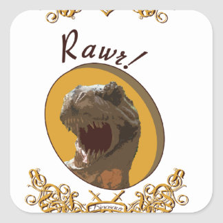 Rawr it means I love you in dinosaur Square Stickers
