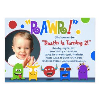 "Rawr!  Little Monster Birthday Party Invitations 5"" X 7"" Invitation Card"
