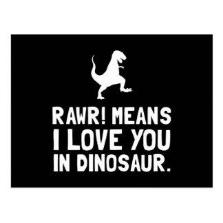 Rawr Love Dinosaur Postcard