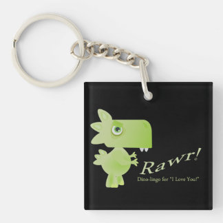 Rawr Means I Love You Dino Single-Sided Square Acrylic Key Ring