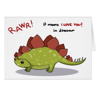 Rawr Means I love you in dinosaur Stegosaurus Greeting Card
