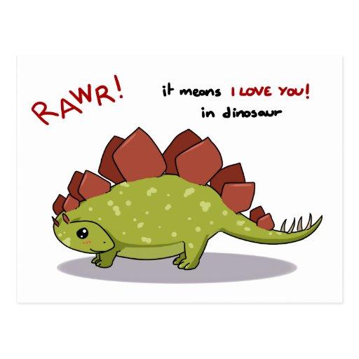 Rawr Means I love you in dinosaur Stegosaurus Post Cards