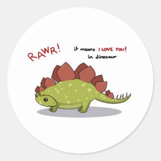 Rawr Means I love you in dinosaur Stegosaurus Round Sticker