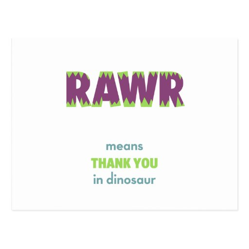 RAWR Means Thank You in Dinosaur Postcards