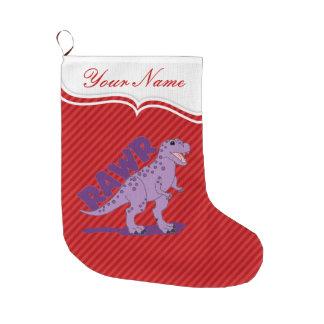 RAWR Purple Spotted T-Rex Dinosaur Large Christmas Stocking