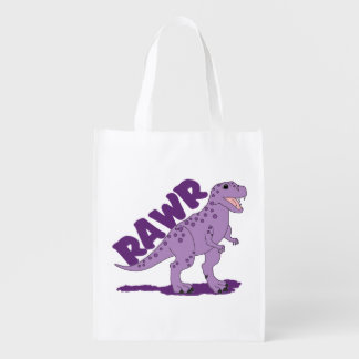 RAWR Purple Spotted T-Rex Dinosaur Reusable Grocery Bag