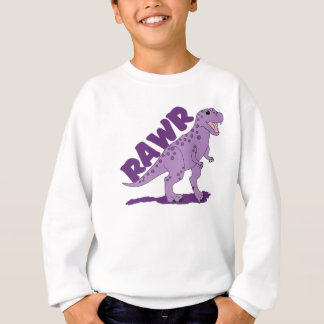 RAWR Purple Spotted T-Rex Dinosaur Sweatshirt