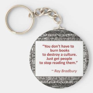 Ray Bradbury Quote About Burning Books Basic Round Button Key Ring