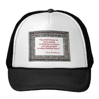 Ray Bradbury Quote About Burning Books Mesh Hat