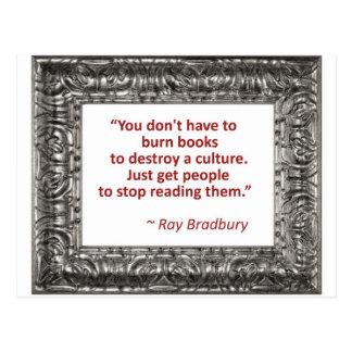 Ray Bradbury Quote About Burning Books Postcard