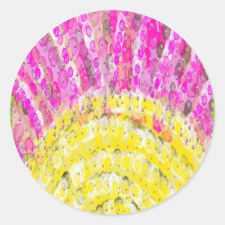 Ray Of Sunshine in Yellow and Fuchsia Round Sticker