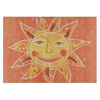 Ray Play Smiling Orange Sun Art Cutting Board