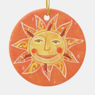 Ray Play Smiling Orange Sun Art Round Ceramic Decoration
