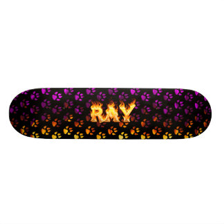 Ray skateboard fire and flames design.