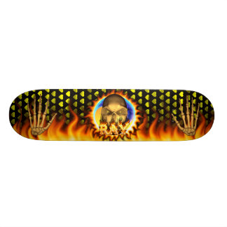 Ray skull real fire and flames skateboard design