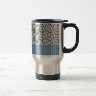 Rayas azules claras con los círculos tazas de café