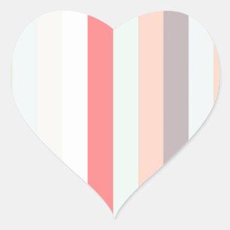 Rayas rosadas celestes y color pastel pegatina corazon personalizadas