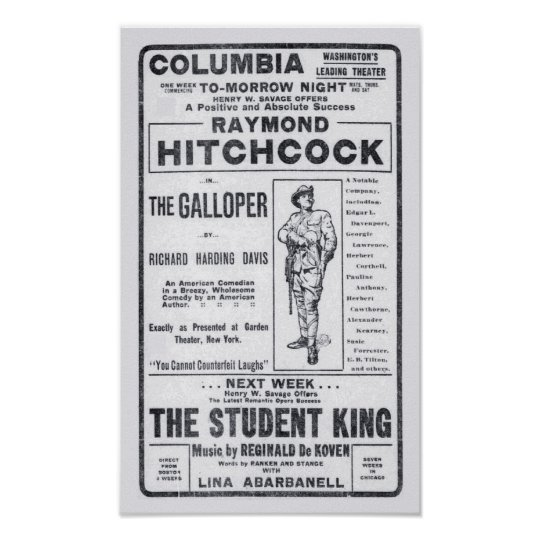 Raymond Hitchcock 1906 theatre newspaper ad poster