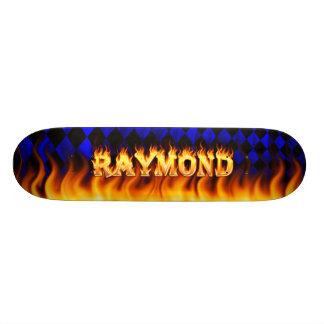 Raymond skateboard fire and flames design.