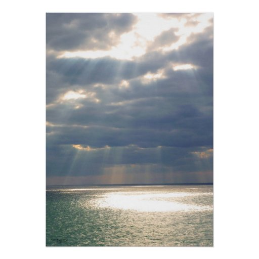 Rays from Heaven Over Ocean Poster