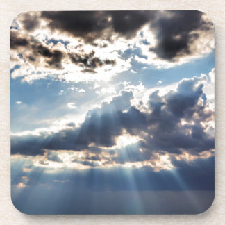 Rays of sunshine from above beverage coasters