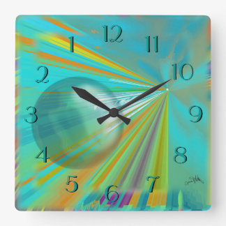 Rays on Planet Abstract Design in Turquoise Square Wall Clock