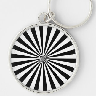 RAYS transparent (a black & white design) ~ Silver-Colored Round Key Ring