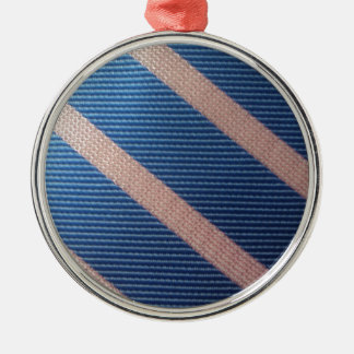 Rayures Bleu / Rose Personnalisable Silver-Colored Round Decoration