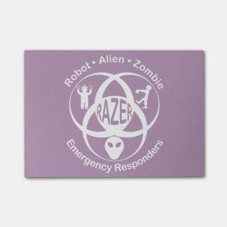 RAZER: Robot, Alien, Zombie Emergerncy Responders Post-It Note