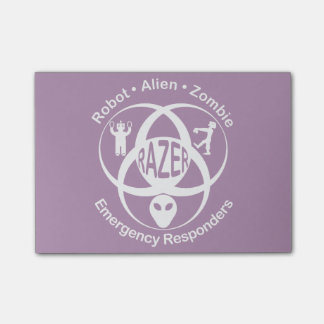 RAZER: Robot, Alien, Zombie Emergerncy Responders Post-it® Notes