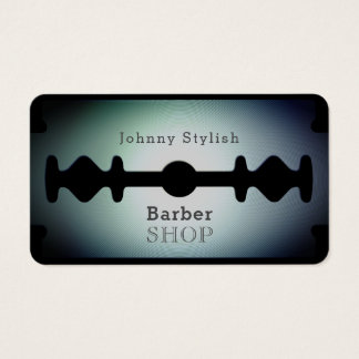 Razor blade barber shop shade blue business card